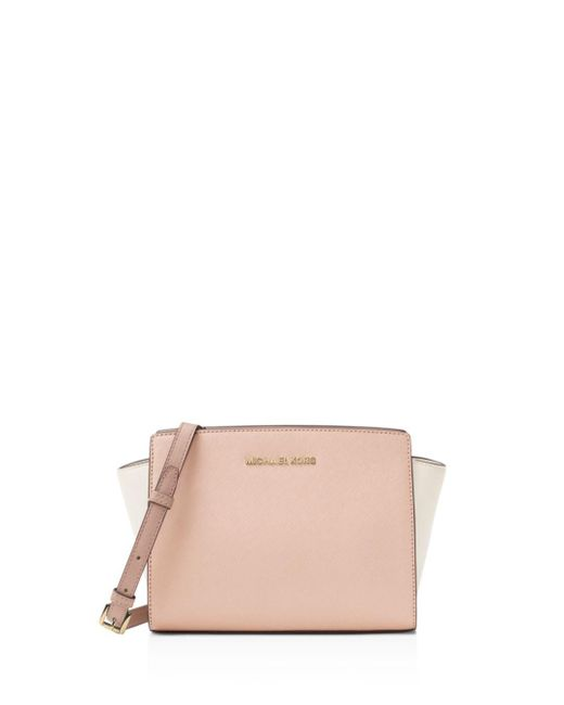MICHAEL Michael Kors - Pink Michael Kors Selma Medium Leather Messenger - Lyst