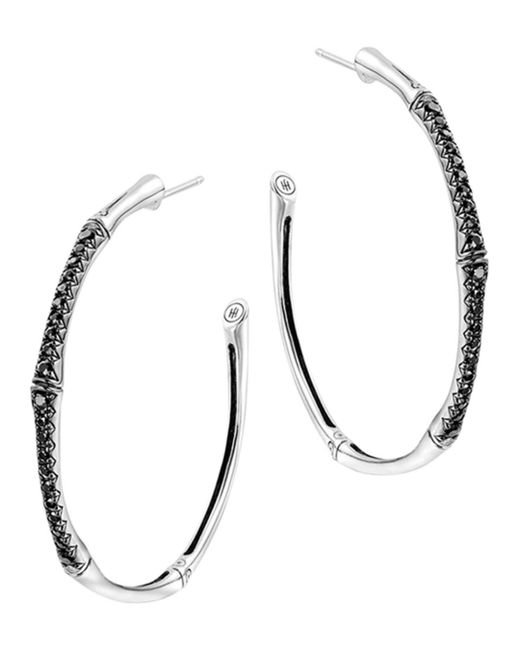 John Hardy - Metallic Bamboo Silver Lava Large Hoop Earrings With Black Sapphire - Lyst