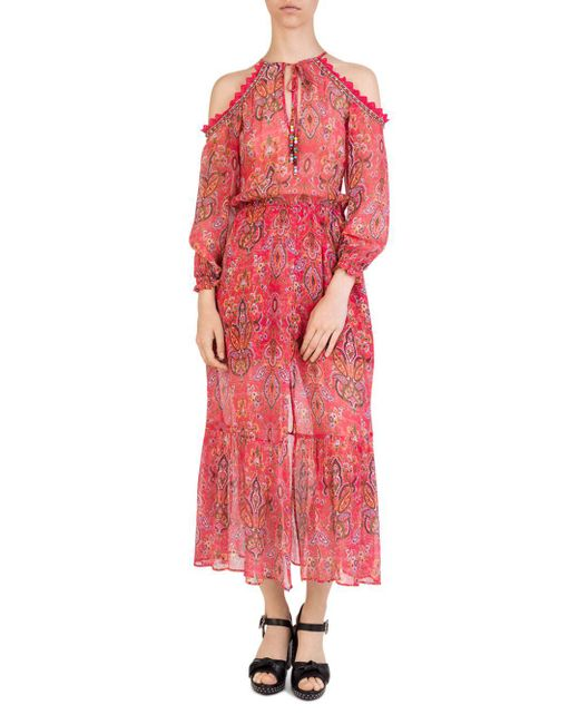 The Kooples - Pink Coral Reef Cold-shoulder Floral-print Silk Dress - Lyst