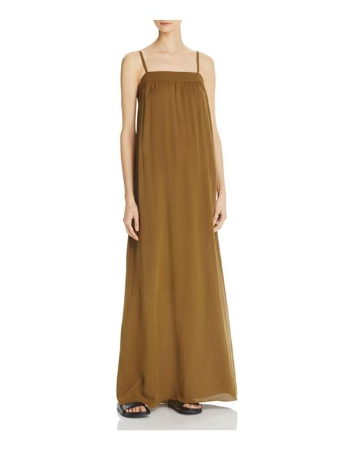 Vince | Green Embroidered Silk Maxi Dress | Lyst