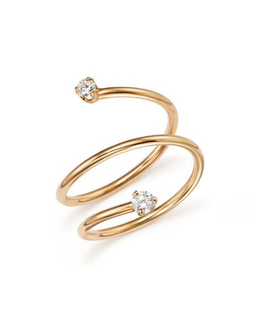 Zoe Chicco - Metallic 14k Yellow Gold Wrap Ring With Diamonds - Lyst