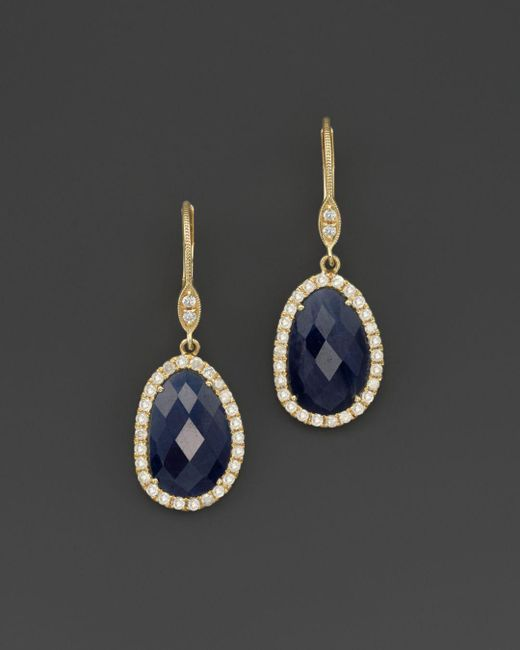 Meira T - Blue 14k Yellow Gold Sapphire And Diamond Earrings - Lyst