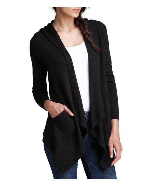 Splendid - Black Cardigan - Hooded Drapey Front Thermal - Lyst