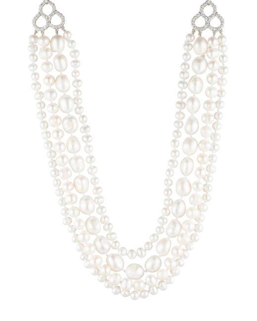 "Carolee - Metallic Silver-tone Crystal, Imitation & Freshwater Pearl (4-12mm) 16"" Multi-row Necklace - Lyst"