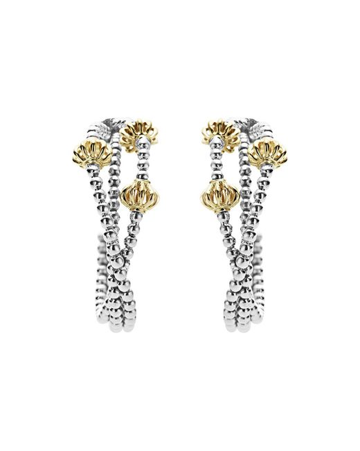 Lagos | Metallic 18k Gold And Sterling Silver Caviar Icon Hoop Earrings | Lyst