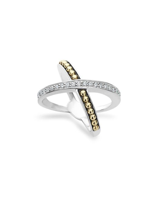 Lagos | Metallic 18k Gold And Sterling Silver X Ring With Diamonds | Lyst