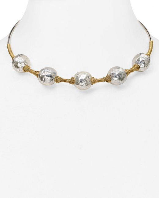 Robert Lee Morris - Metallic Beaded Wire Wrap Choker Necklace - Lyst