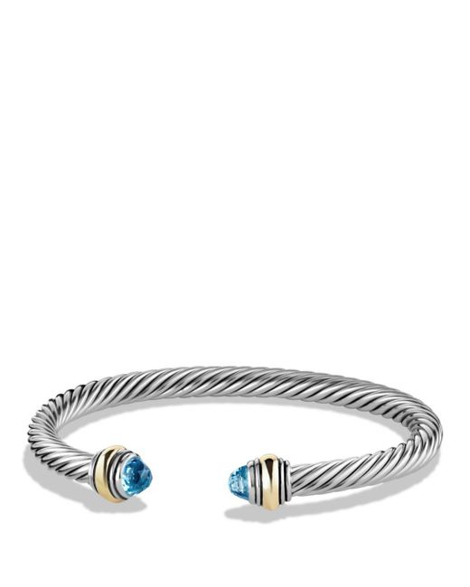 David Yurman - Cable Classics Bracelet With Blue Topaz And Gold - Lyst