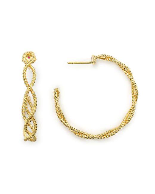 Roberto Coin - Metallic 18k Yellow Gold New Barocco Braided Hoop Earrings With Diamonds - Lyst