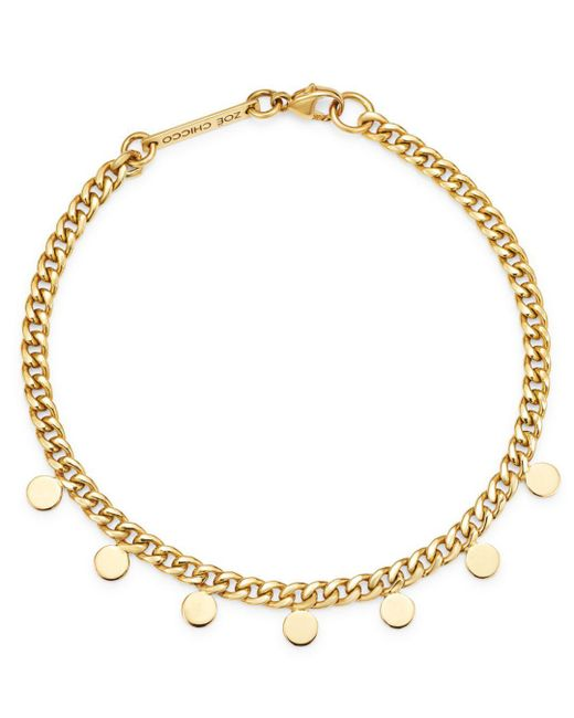 Zoe Chicco - Metallic 14k Yellow Gold Itty Bitty Dangling Discs Curb Chain Bracelet - Lyst