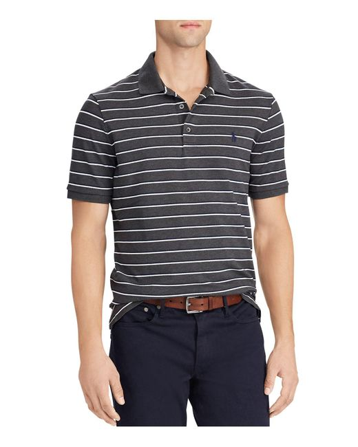 Polo Ralph Lauren | Black Striped Stretch Mesh Short Sleeve Polo Shirt for Men | Lyst