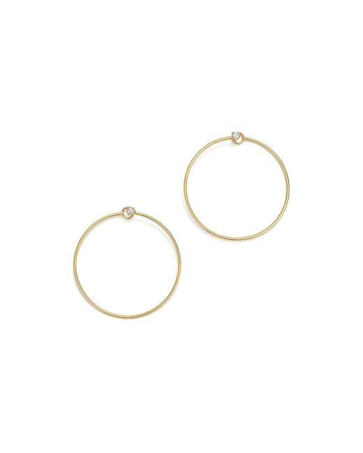Zoe Chicco   Metallic 14k Yellow Gold Diamond Stud Front-back Hoop Earrings   Lyst