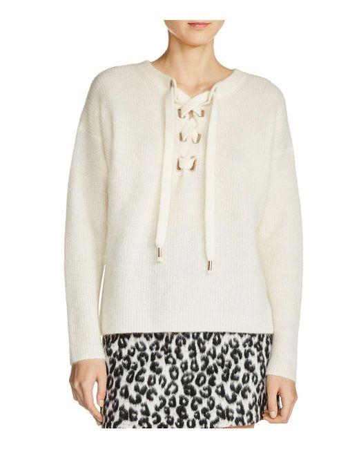 Maje | White Manou Lace-up Detail Sweater | Lyst