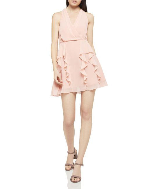 BCBGeneration - Pink Ruffled Fit-and-flare Dress - Lyst