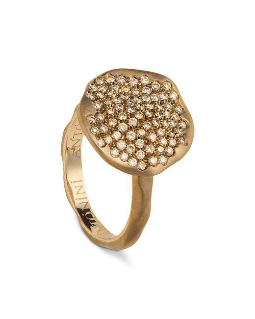 Antonini | Metallic 18k Rose Gold Round Anniversary Pavé Champagne Diamond Ring | Lyst