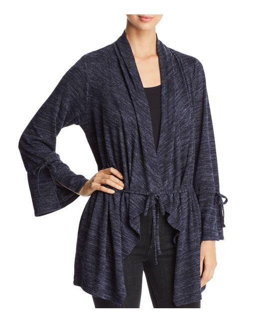 Avec | Blue Marled Knit Drawstring Cardigan | Lyst