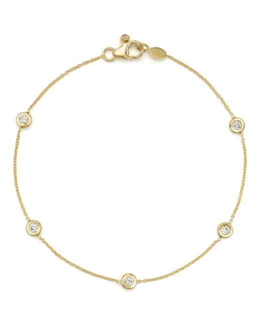Roberto Coin - Metallic 18k Yellow Gold Five Station Bracelet With Diamonds - Lyst