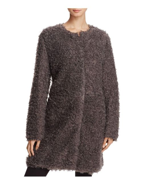 Via Spiga - Gray Reversible Lightweight Faux Fur Coat - Lyst
