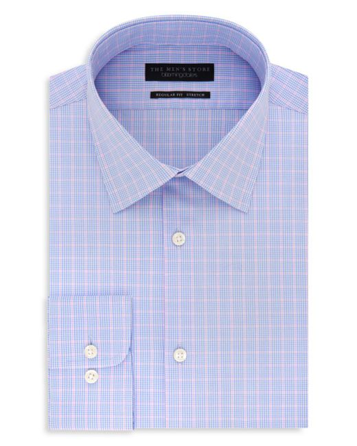 Bloomingdale's - Blue Windowpane Regular Fit Stretch Dress Shirt for Men - Lyst
