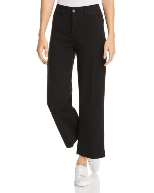 PAIGE - Nellie Clean-front Denim Culottes In Black Overdye - Lyst