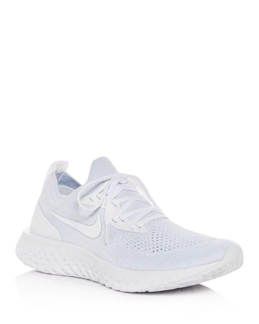 Nike - White Women's Epic React Flyknit Lace-up Sneakers - Lyst