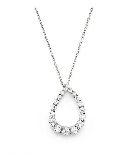 Bloomingdale's - Diamond Graduated Teardrop Pendant Necklace In 14k White Gold, .90 Ct. T.w. - Lyst