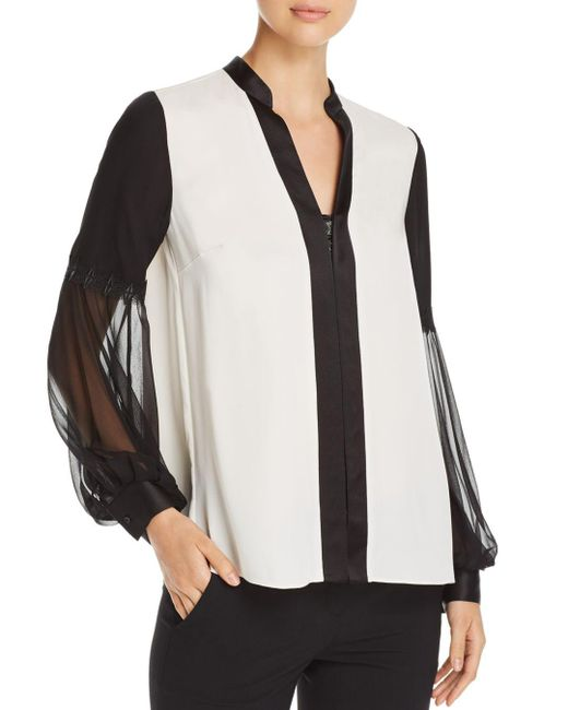 Elie Tahari - Multicolor Valere Color Block Silk Blouse - Lyst