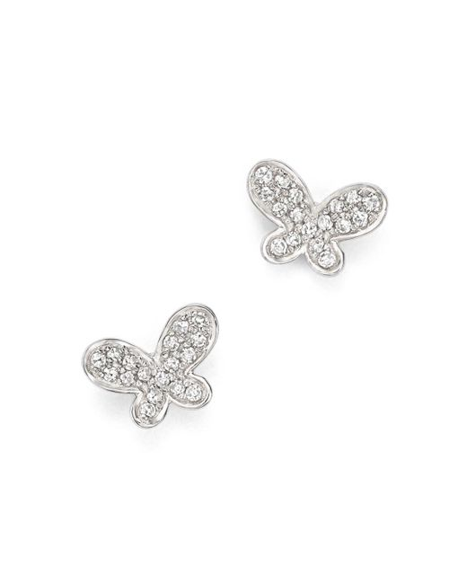 KC Designs - Metallic Diamond Butterfly Stud Earrings In 14k White Gold - Lyst