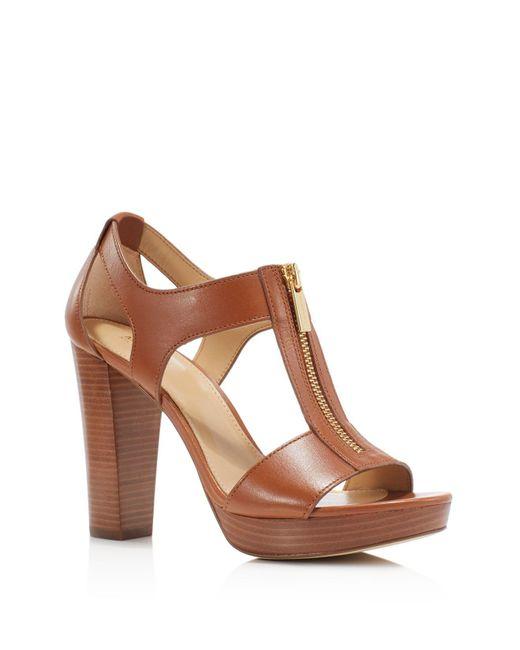 MICHAEL Michael Kors - Brown Berkley Zipper Platform High-heel Sandals - Lyst