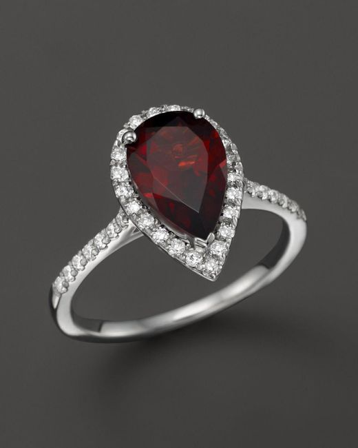 Bloomingdale's - Multicolor Garnet And Diamond Ring In 14k White Gold - Lyst