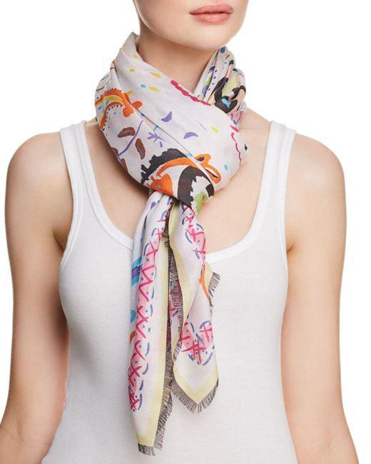 Jane Carr - White Fauve Floral Paisley Print Scarf - Lyst