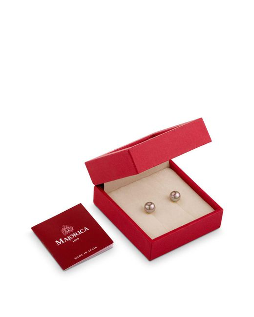 Majorica | Gray Simulated Pearl Earrings Gift Box | Lyst
