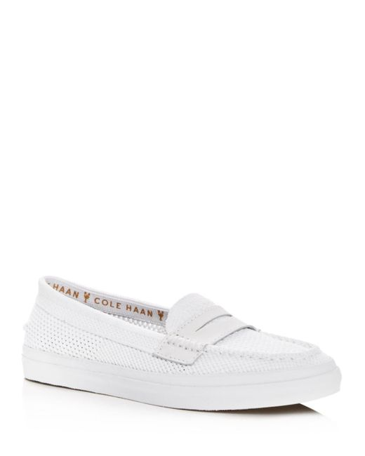 Cole Haan - White Women's Pinch Weekender Lx Stitchlite Knit Penny Loafers - Lyst