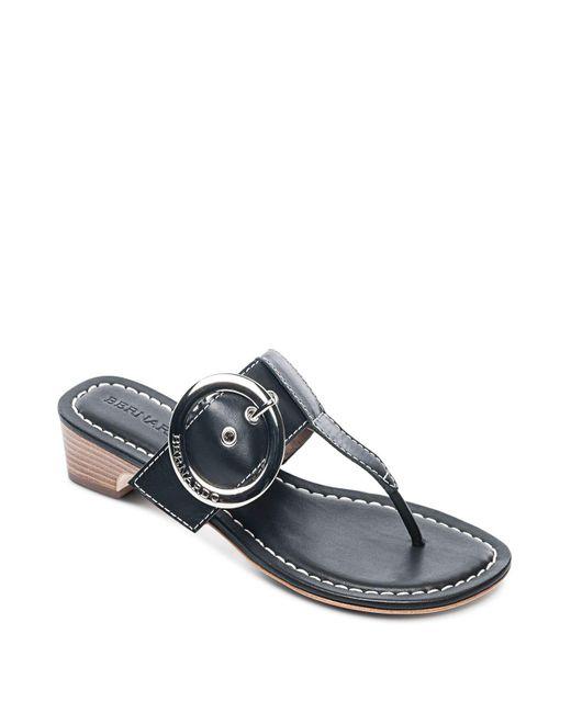 Bernardo - Black Women's Leather Buckle Block Heel Thong Sandals - Lyst