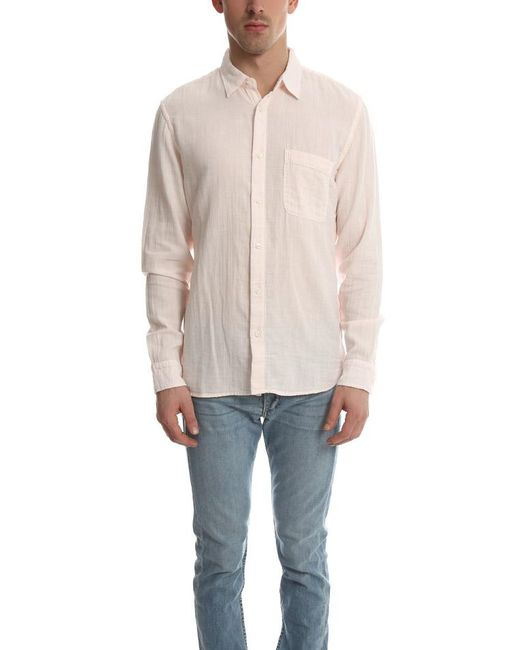 Lyst kato double gauze button down in pink for men save 5 for Gauze button down shirt