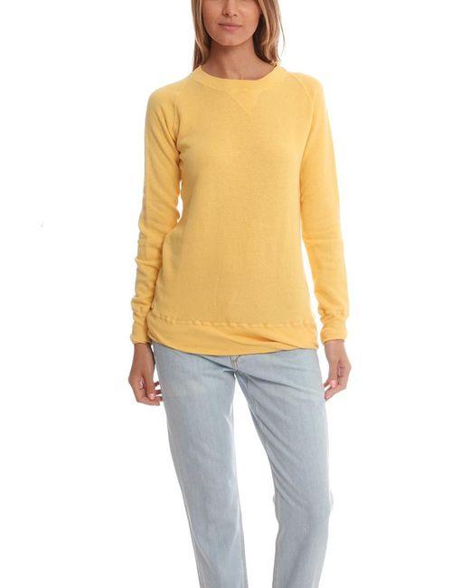 V :: Room - Yellow Gauze Long Sleeve Fleece Crewneck - - Lyst
