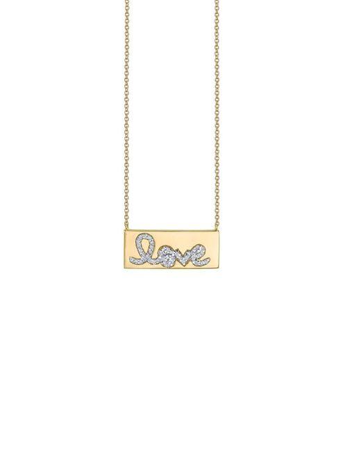 Sydney Evan - Metallic Diamond Love Bar Necklace - Lyst