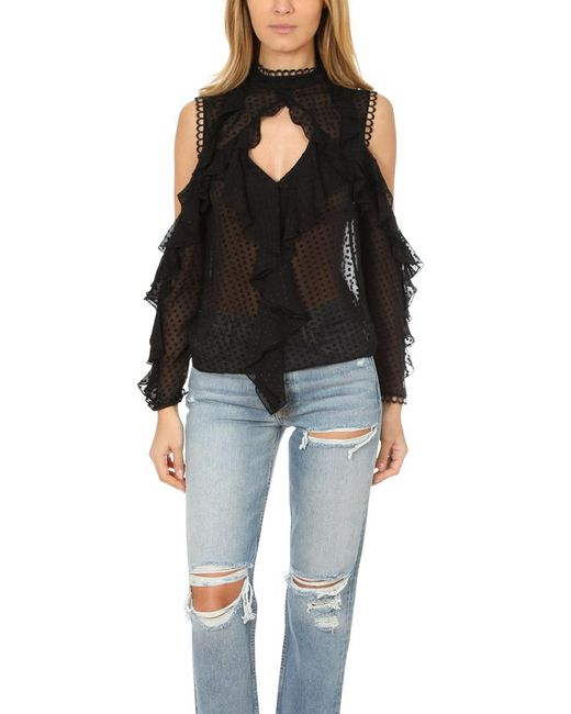 Nicholas - Black Georgette Cold Shoulder Top - Lyst
