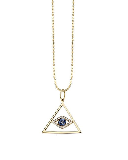 Sydney Evan - Metallic Medium Pyramid Evil Eye Charm - Lyst