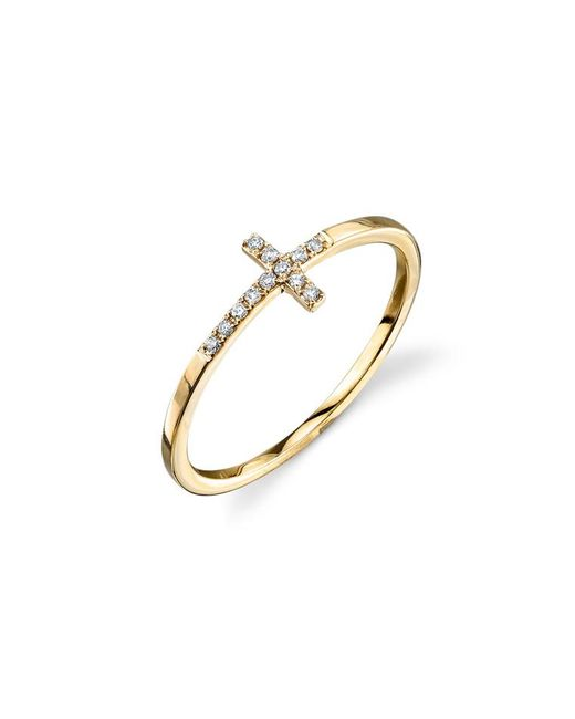 Sydney Evan | Metallic Bent Cross Pavé Diamond Ring | Lyst