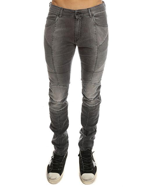 Balmain | Gray Ribbed Moto Jean for Men | Lyst