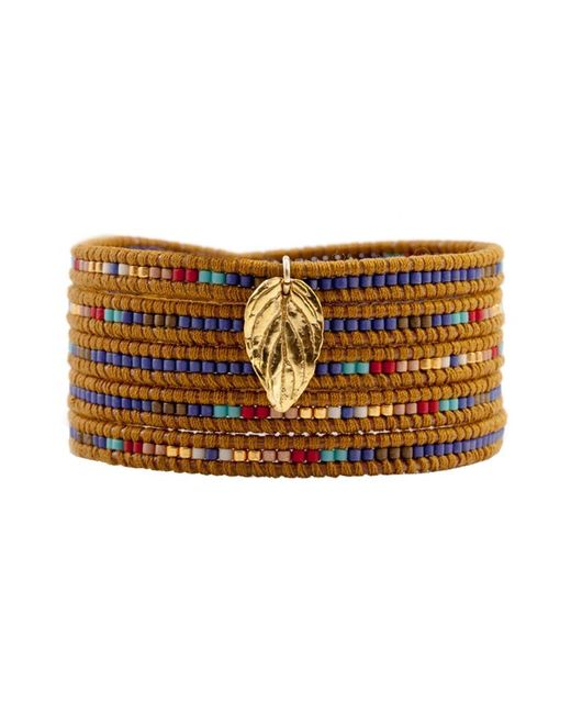 Chan Luu | Metallic Mix Seed Bead Bracelet On Henna Leather With Gold Leaf | Lyst