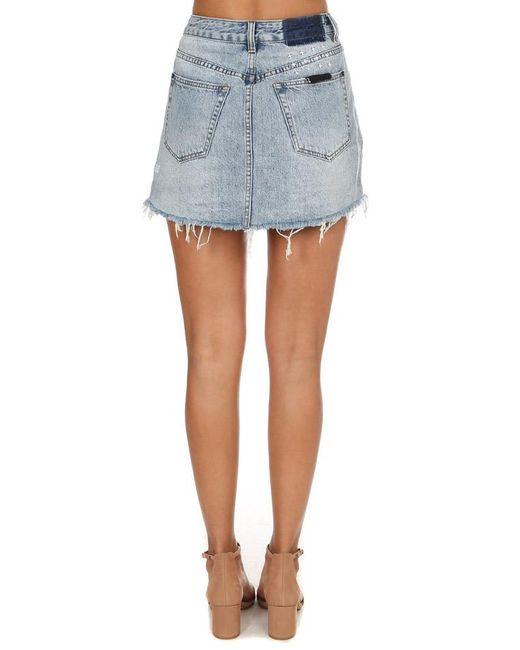 ksubi rap denim skirt in blue lyst