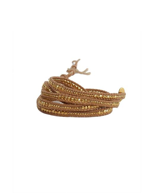Chan Luu - Metallic Gold Bead Wrap Bracelet On Natural Leather - Lyst