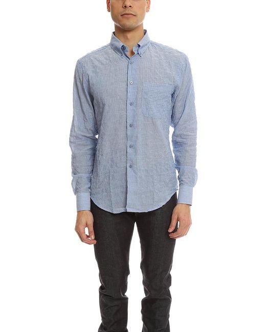 Naked & Famous - Blue Regular Shirt Lightweight Pencil Stripes for Men - Lyst