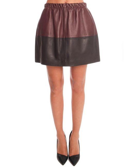 Vince - Black Colorblock Leather Skirt - - Lyst