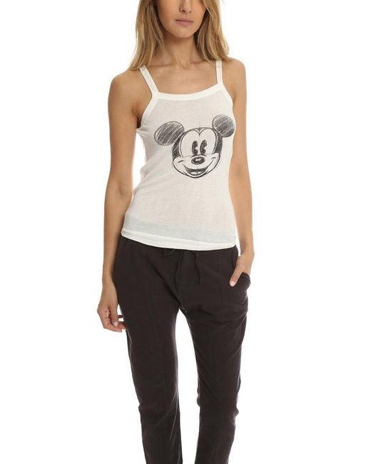 David Lerner | White Mickey Head Sketch Rib Tank | Lyst