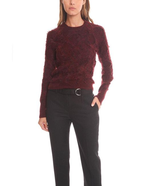 3.1 Phillip Lim - Red Long Sleeve Pullover In Destroyed Diamond Fringe Jacquard - Lyst