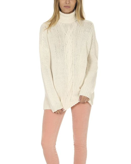 Majestic Filatures - Natural Cableknit Turtleneck Sweater - Lyst