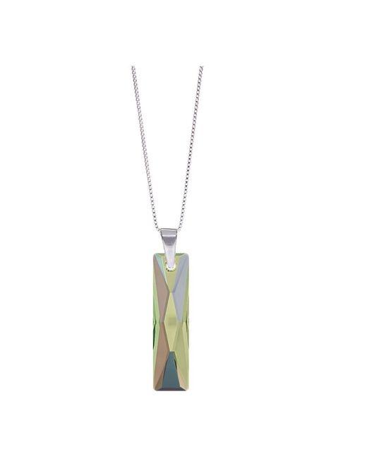 Barzel - Metallic Genuine Swarovski Queen Baguette Paradise Crystal Pendnat In Sterling Silver Chain Necklace - Lyst